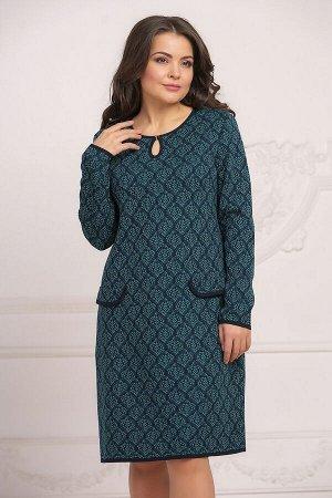 Платье вязаное 4022 К  Сине-изумрудный