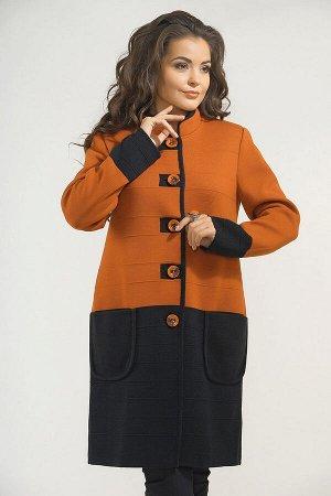Пальто 3694 К (без подкладки)  Оранжево-черный
