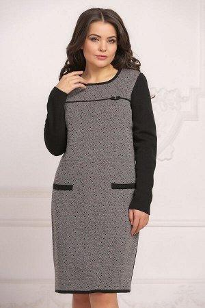 Платье вязаное 4021 К  Черно/красный