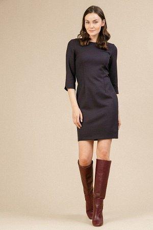 Платье Размерный ряд: 42-54 Состав ткани: полиэстер75%, вискоза20%, эластан5% Длина: 88 см. Описание модели Платье в мелкий узор без подкладки. Приталенная модель, имеет круглый вырез горловины, ру