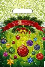 """Пакет новогодний ПВД с вырубной ручкой """"Шарики-фонарики"""""""