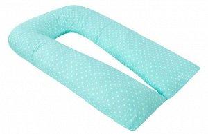 """Подушка для беременных """"AmaroBaby"""" U-образная,340*35 см. (файбер, бязь) сердечки мята"""