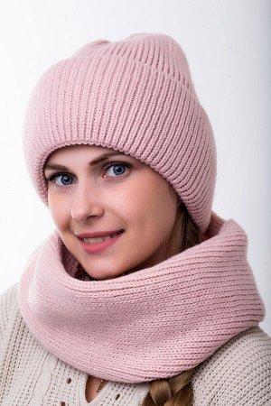 Комплект комплект , снуд и шапка   56-58 см; пудра; подклад флис -  Шерсть 50% - Акрил 50%