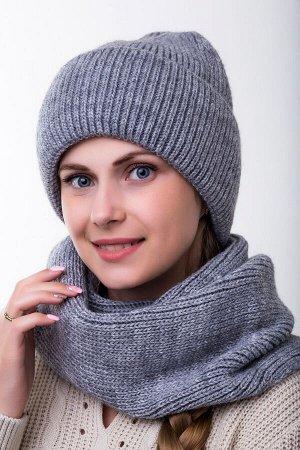 Комплект комплект , снуд и шапка   56-58 см; графит; подклад флис -  Шерсть 50% - Акрил 50%