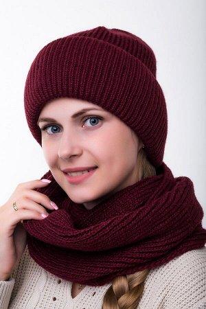 Комплект комплект , снуд и шапка   56-58 см; бордо; подклад флис -  Шерсть 50% - Акрил 50%