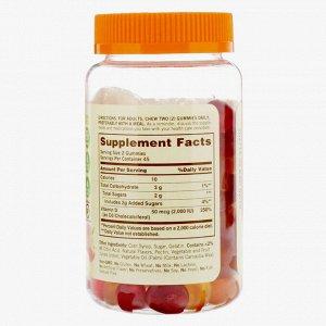Sundown Naturals, Витамин D3, жевательные конфеты со вкусом клубники, апельсина и лимона, 50 мкг (2000 МЕ), 90 жевательных конфет