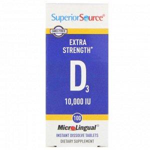 Superior Source, Витамин D3 Extra Strength, 10 000 МЕ, 100 быстрорастворимых таблеток MicroLingual