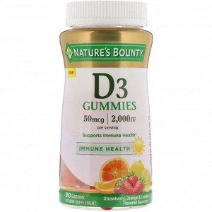 Nature&#x27 - s Bounty, Vitamin D3 Gummies, Strawberry, Orange & Lemon Flavored, 50 mcg (2,000 IU), 90 Gummies