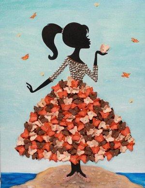 "Мозаика из пайеток на холсте ""Девочка с бабочками"""