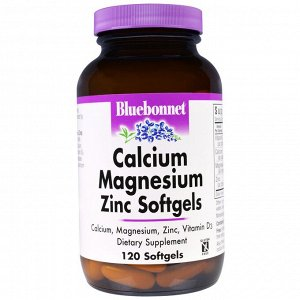 Bluebonnet Nutrition, кальций, магний, цинк, 120 мягких желатиновых капсул