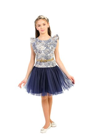 Платье Артикул: СС-П-1810; Цвет: Синий Скачать таблицу размеров                                                 Нарядное платье корсетного плана, с удлинённым лифом, выполнено из фактурного жаккарда,