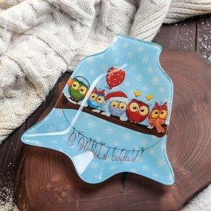 Блюдо сервировочное Доляна «Колокольчик. Счастливого Рождества», 18?17?1,5 см