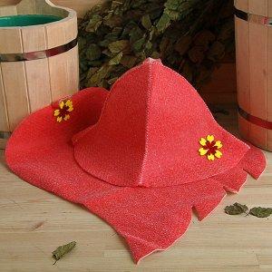 """Набор банный женский """"Шляпа и коврик"""", красный"""