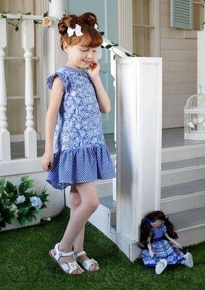 Лукерья платье хлопковое синий