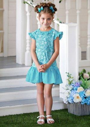 Лукерья платье хлопковое бирюзовый