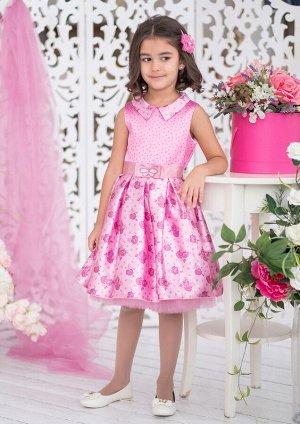 Бонита Стильное нарядное платье для девочек. Лиф без рукавов с воротничком острой формы и верхний слой пышной юбки, выполнены из атласа с изысканным узором. Элегантный пояс украшен аппликацией в виде