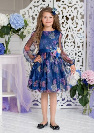 Сирения нарядное платье т.синий