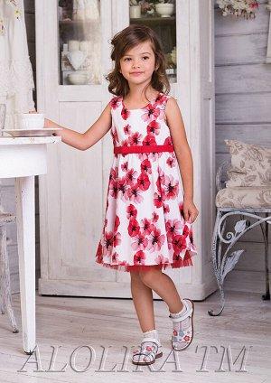 Соня платье хлопковое бел.красный