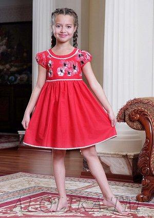 Юленька платье хлопковое красный