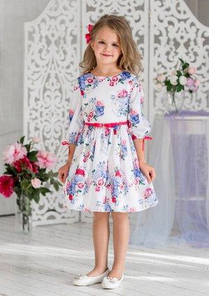 Дженифер нарядное платье бел.малиновый
