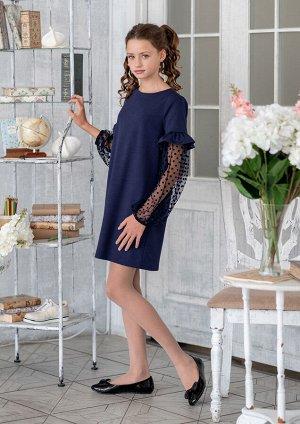 Адория Платье для девочек старшего школьного возраста, свободной формы. Платье прямое, слегка расширенное к низу из однотонного трикотажного полотна. Застёжка платья на спине на навесную петельку из р