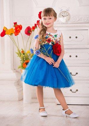 Моника Оригинальное нарядное платье, предназначенное для особых случаев и не только. Классический лиф без рукавов с круглым вырезом по горловине выполнен из атласа с рисунком. Юбка выполнена из нескол