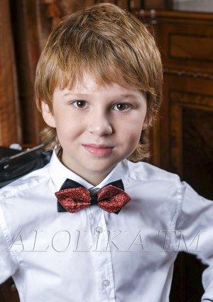Леонид Бабочка для мальчика, на резинке и застежке. внутренний бант выполнен из ткани-парча. Длина 11 см.