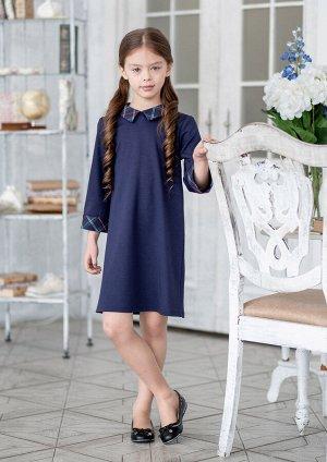 Ламара Оригинальное школьное платье, прямое из трикотажного полотна с отделкой клетка. Застёжка на потайную молнию от горловины спинки по среднему шву. Рукав три четверти, с манжетами из отделочной тк