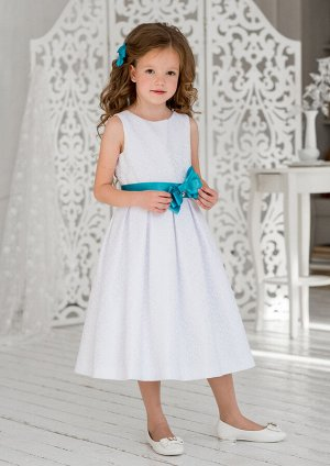 Эмилия нарядное платье бел.бирюзовый