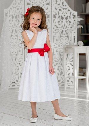 Эмилия нарядное платье бел.красный