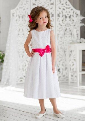 Эмилия нарядное платье бел.малиновый
