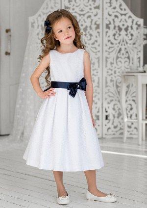 Эмилия нарядное платье бел.синий