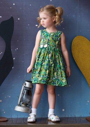 Платье с красочным принтом син./зелёное