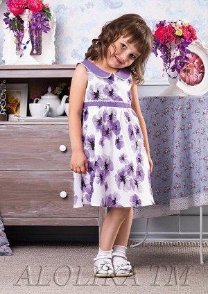 Аннушка платье хлопковое бел.сиреневый
