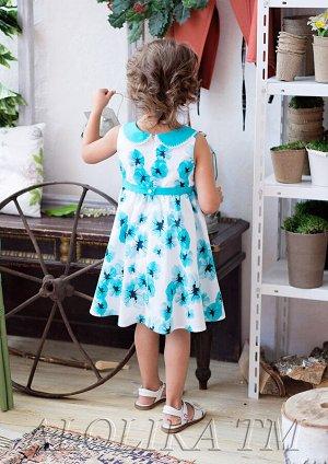 Аннушка платье хлопковое бел.бирюзовый