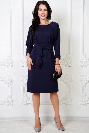 Платье с рукавом реглан и пояском (сапфир) П961-8