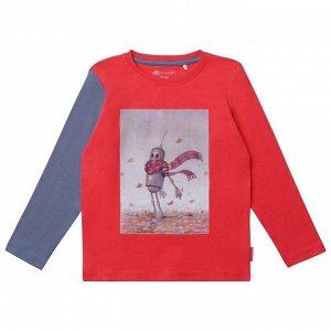 Джемпер для мальчика, красный комбинированный
