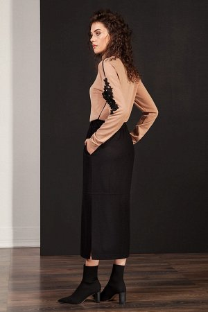 Юбка миди Вискоза 60%, шерсть 40% Рост: 170 см. Стильная юбка из полушерстяной ткани прямого силуэта с высокими разрезами по низу. Пояс на резинке с декоративными завязками по переду. Перед юбки с вер