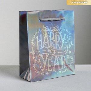 Пакет голографический вертикальный Happy New Year, S 12 x 15 ? 5.5 см