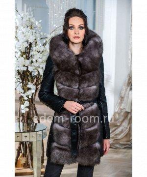 Зимняя куртка-жилетка из экокожиАртикул: R-786-2-90-CH-P