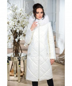 Белое пальто для зим из экокожиАртикул: NS-1806-2-110-BL-P