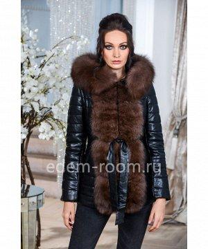 Зимняя куртка-жилектка из искусстсвенной кожиАртикул: GL-8855-2-70-CH-P