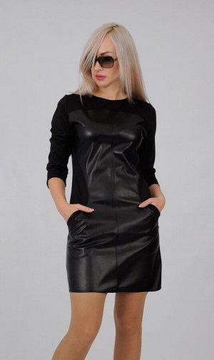 Платье пл238 черное с кожей