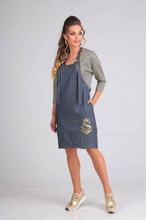 Платье Платье SandyNA 13587  Рост: 170 см.  Срок пошива: 7 дней .  Платье женское из текстильной ткани, О-образного силуэта, длиной до колена. Изделие выполнено как имитация сарафана. Платье комбинир