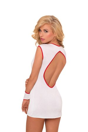 Костюм медсестры SoftLine Collection Sister (платье и перчатки), белый, M/L