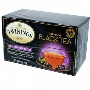 Twinings, Черный чай премиум-класса, со вкусом черной смородины, 20 чайных пакетиков, 40 г (1,41 унции)