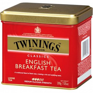 Twinings, Classics, листовой чай English Breakfast, 200 г (7,05 унции)