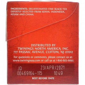 Twinings, 100% Pure Black Tea, English Breakfast, Decaffeinated, 25 Tea Bags, 1.76 oz (50 g)