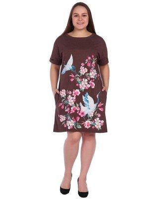 Яркое платье-туника с цветочным принтом Т813В