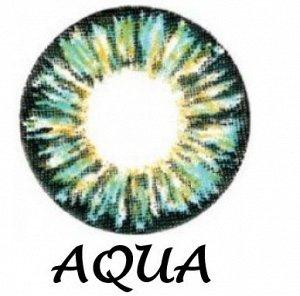 Перекрывающие цветные контактные линзы HERA GLAMOUR Aqua -7.0 ВС 8.6 (2 линзы)